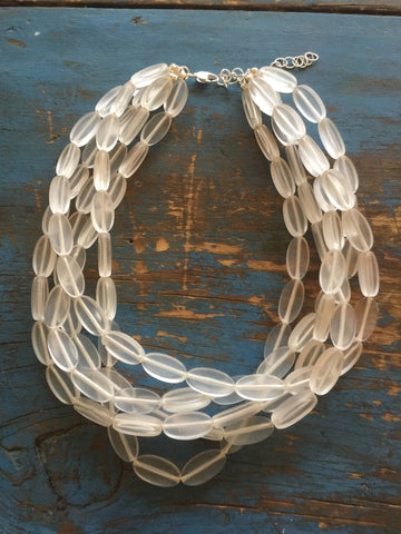 frosted oval necklace