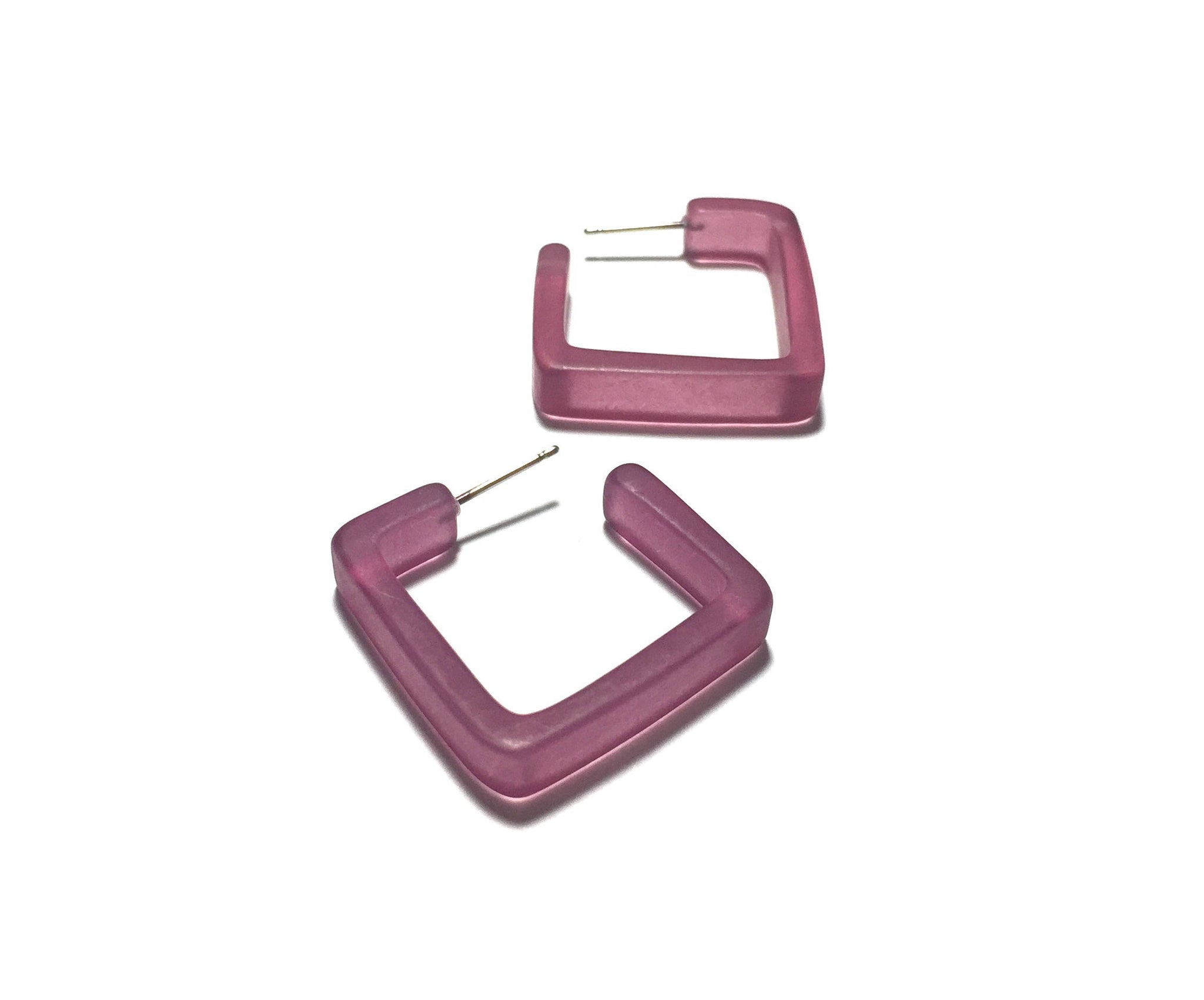 frosted square hoops purple