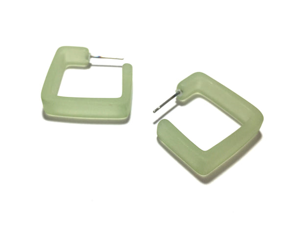 light green square earrings