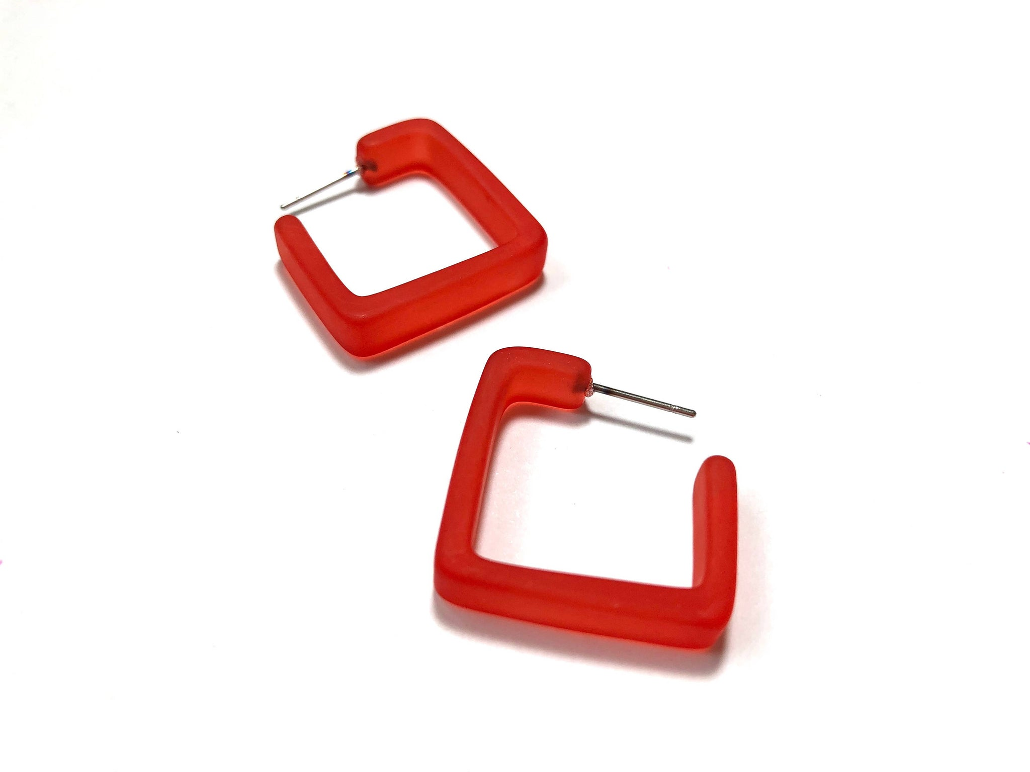 cherry red square hoops