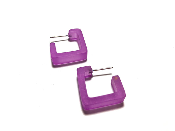 frosted violet square hoops
