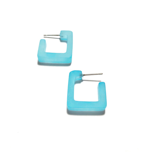 square turquoise hoops
