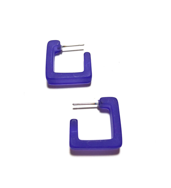 dark blue square hoop earrings