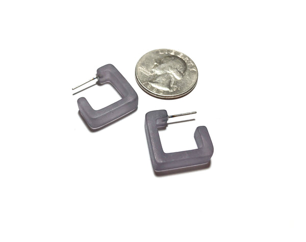 small grey square earrings
