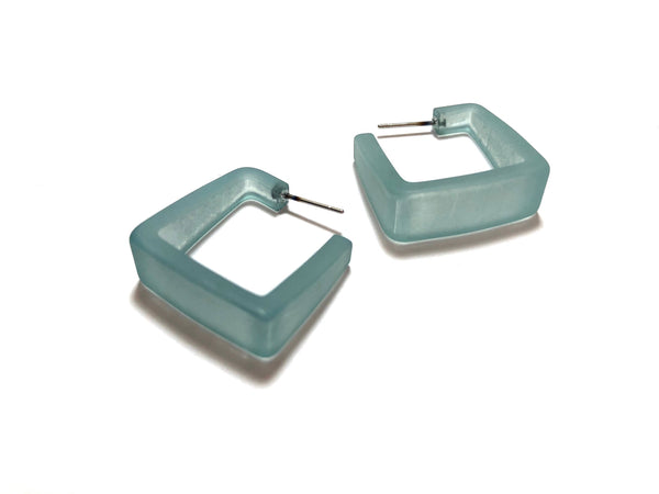 teal frosted square earrings