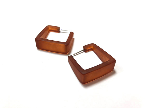brown square hoop earrings