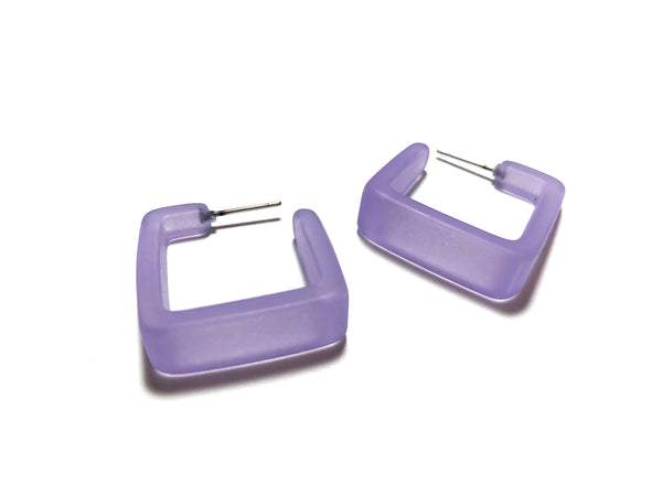 light purple square earrings