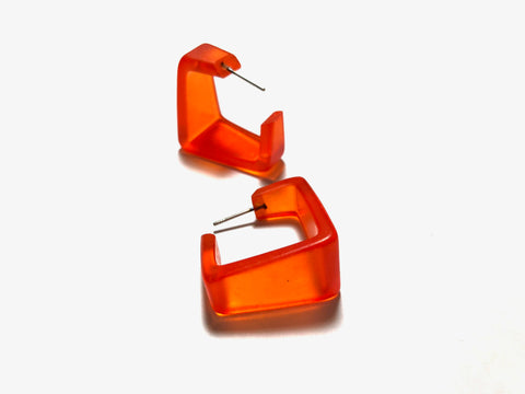 wide orange cubist hoops