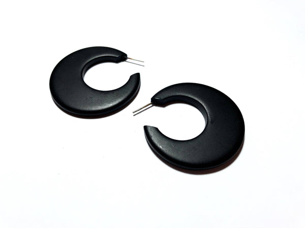 jet black hoop earrings