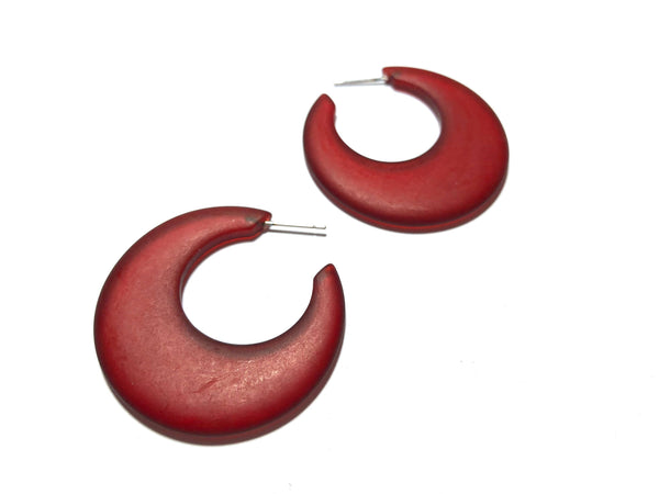 big red frosted earrings
