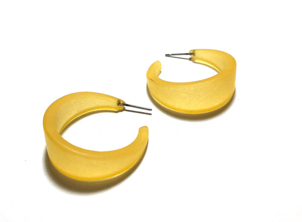 yellow earrings frosted lucite