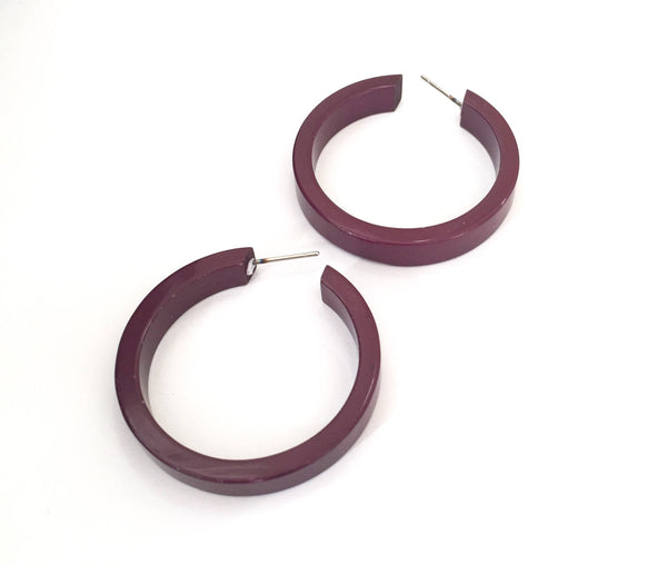 eggplant hoop earrings