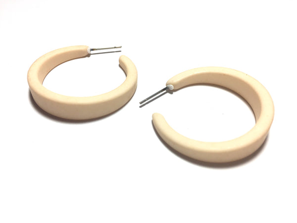 ivory lucite hoop earrings