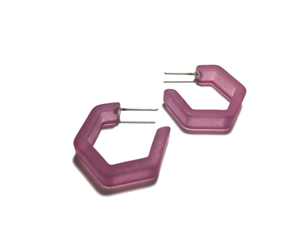 Amethyst Frosted Honeycomb Hex Hoop Earrings