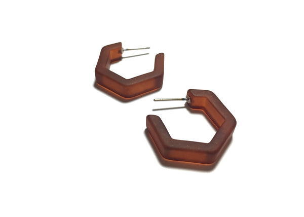 small brown hex hoops