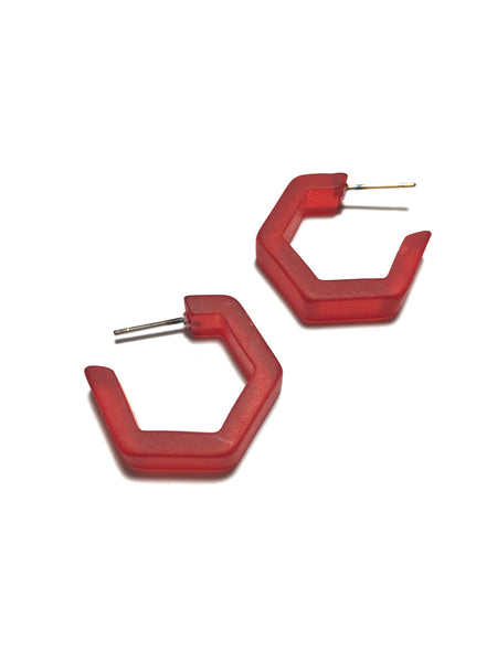 cherry red hex hoops