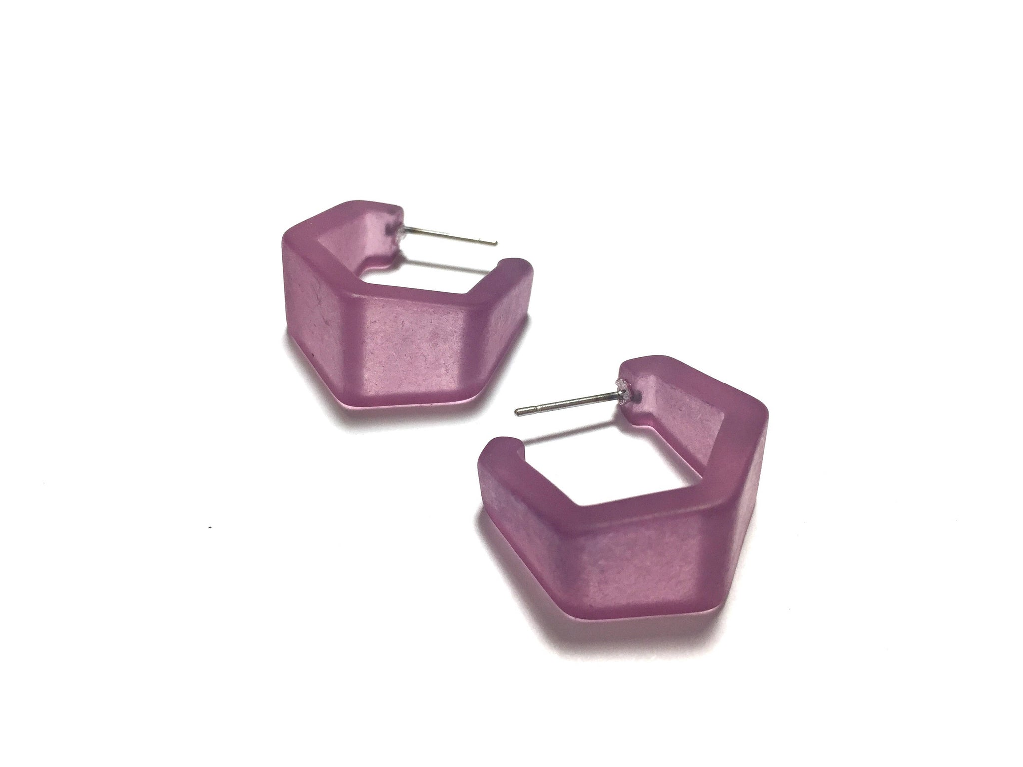 Amethyst Purple Frosted Hexagon Geo Hoop Earrings