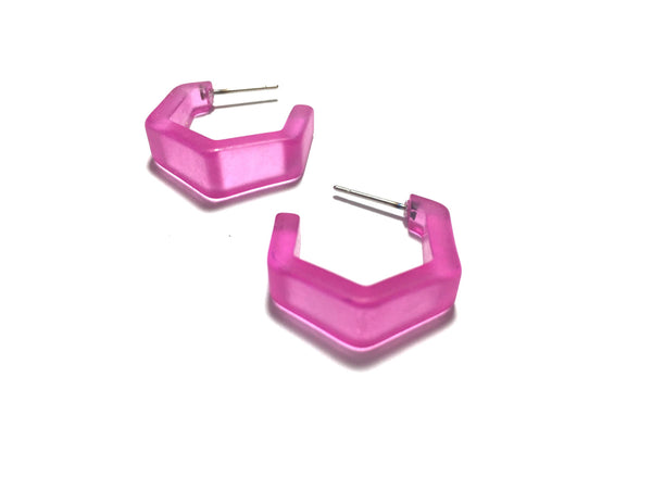 pink hex faceted earrings