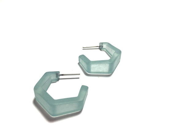 teal hexagon earrings