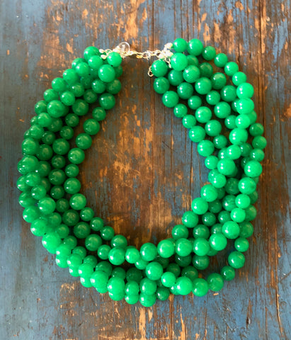 leetie green statement necklace