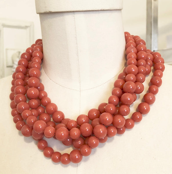 coral beaded vintage necklace