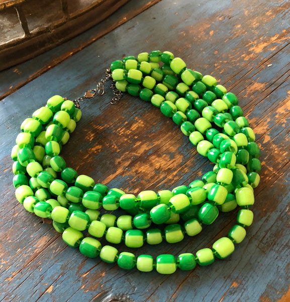 2 tone green statement necklace