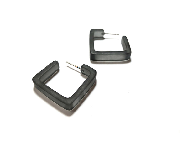 charcoal square earrings