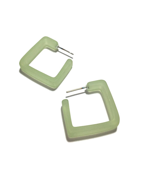 pastel green square hoops