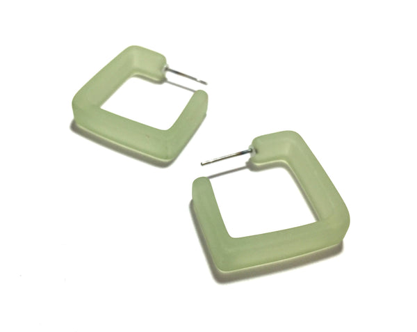 frosted green square earrings
