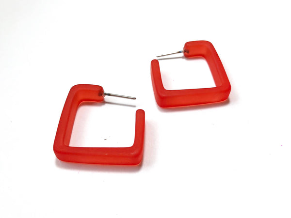 bright red square hoops