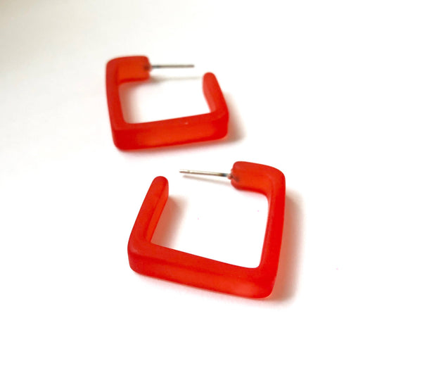 cherry red square hoop earrings