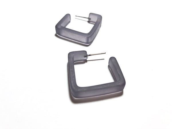 gray square earrings