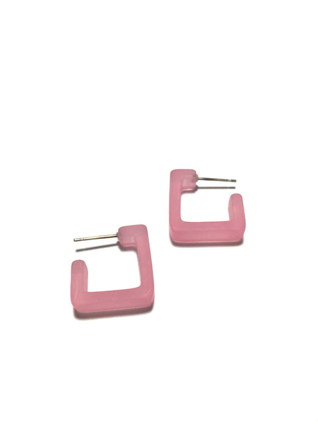 small pink square earrings