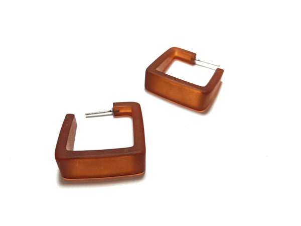 brown frosted square earrings