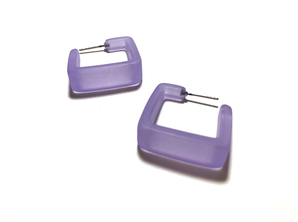 frosted lilac square hoops
