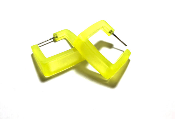 neon yellow square earrings