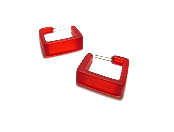 bright red geo square hoops