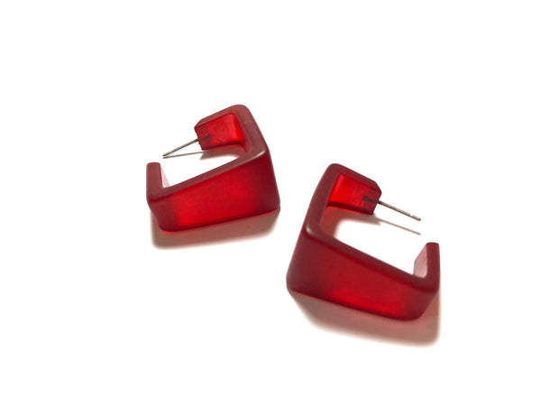 wide dark red earrings