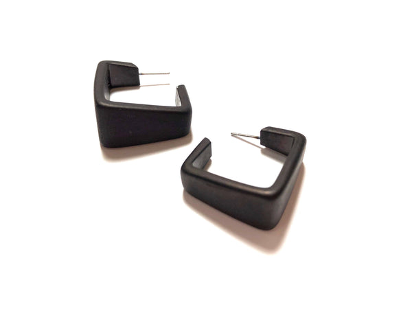 Black Wide Cubist Frosted Lucite Hoop Earrings