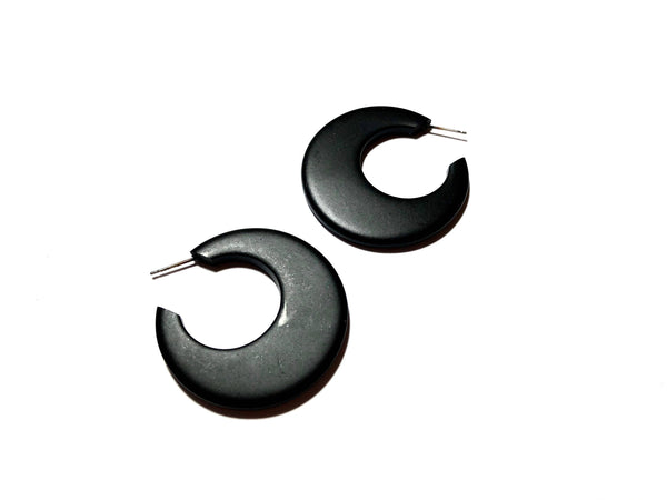 mod hoop earrings black