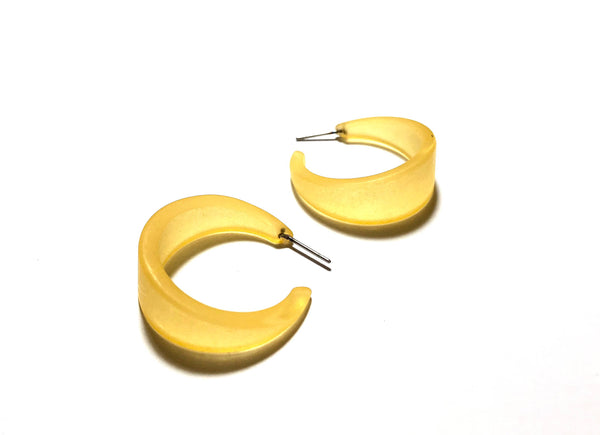 yellow lucite frosted hoops