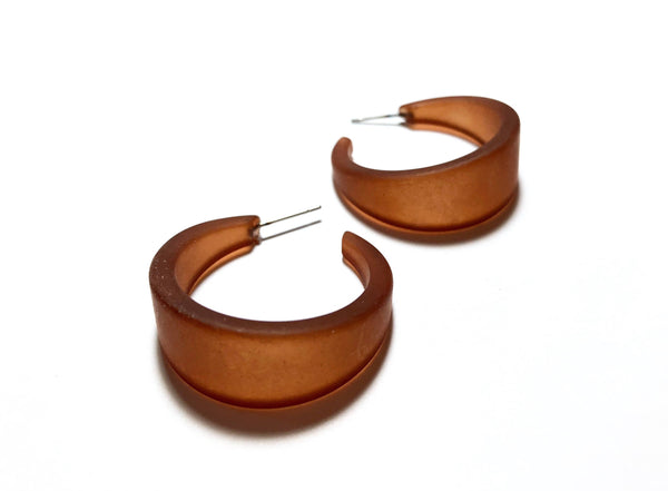 brown lucite hoop earrings