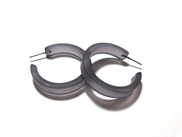 hoop earrings frosted grey