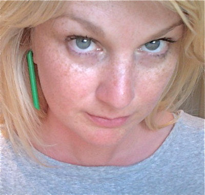 big green stick earrings