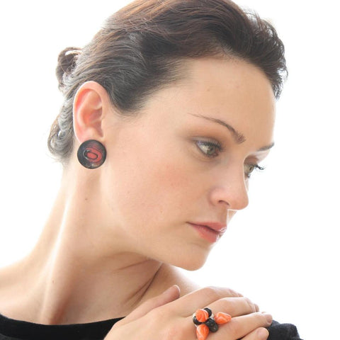 disc earrings orange