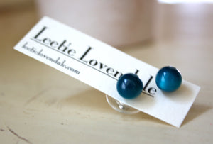 dark teal moonglow studs