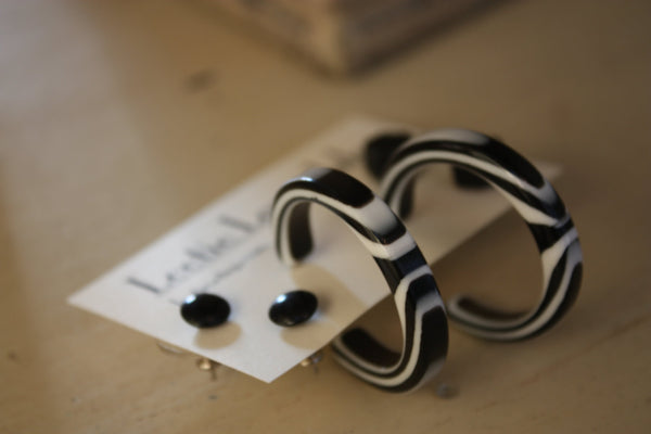 black white earrings