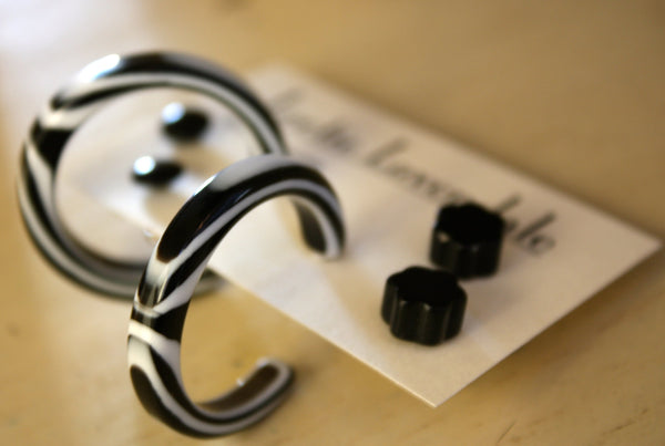 black stripe earrings