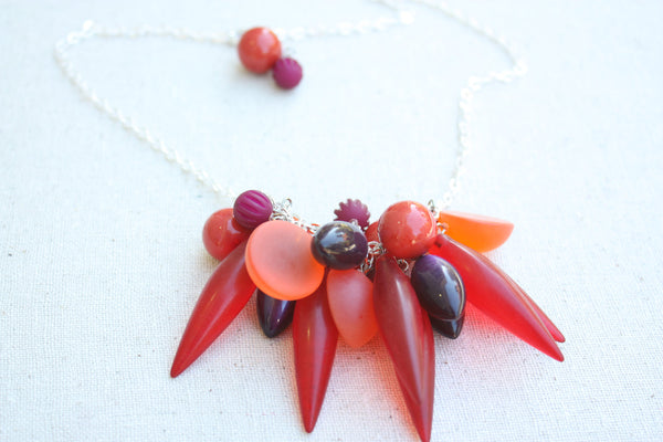 frosted red statement necklace