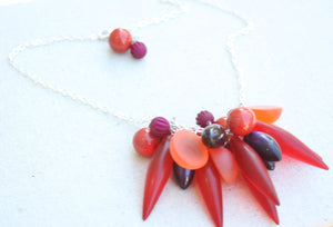 sea spike necklace red